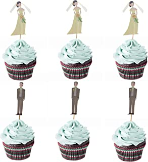 M2cbridge 24 Pack Cupcake Toppers Cupcake Sticks Food Flags for Weddings or Parties (12 Bride+ 12 Groom)