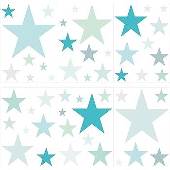 Dekodino Wandtattoo Kinderzimmer Wandsticker Set Pastell Sterne In Tollen Blau Und Grun Amazon De Baumarkt