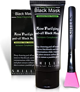SHILLS Black Mask, Peel Off Mask, Blackhead Remover Mask, Charcoal Mask, Blackhead Peel Off Mask and Brush Kit