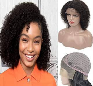Brazilian Virgin Remy Lace Front Wigs Human Hair For Women, Amiable Short Curly Real Human Hair with Baby Hair 10 inch Lace Wigs Natural Black (#1B)