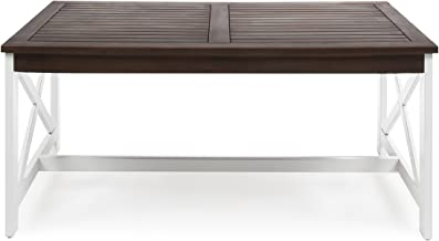 Newman Indoor Farmhouse Dark Brown Finished Acacia Wood Coffee Table with a White Base