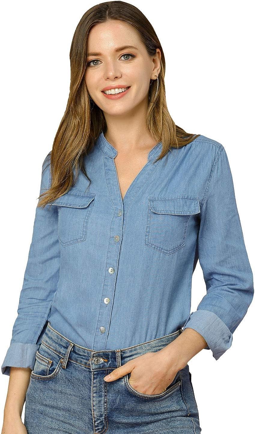 Allegra K Women's Denim Shirts Button Down Cotton Jean Top Blouse with Pockets