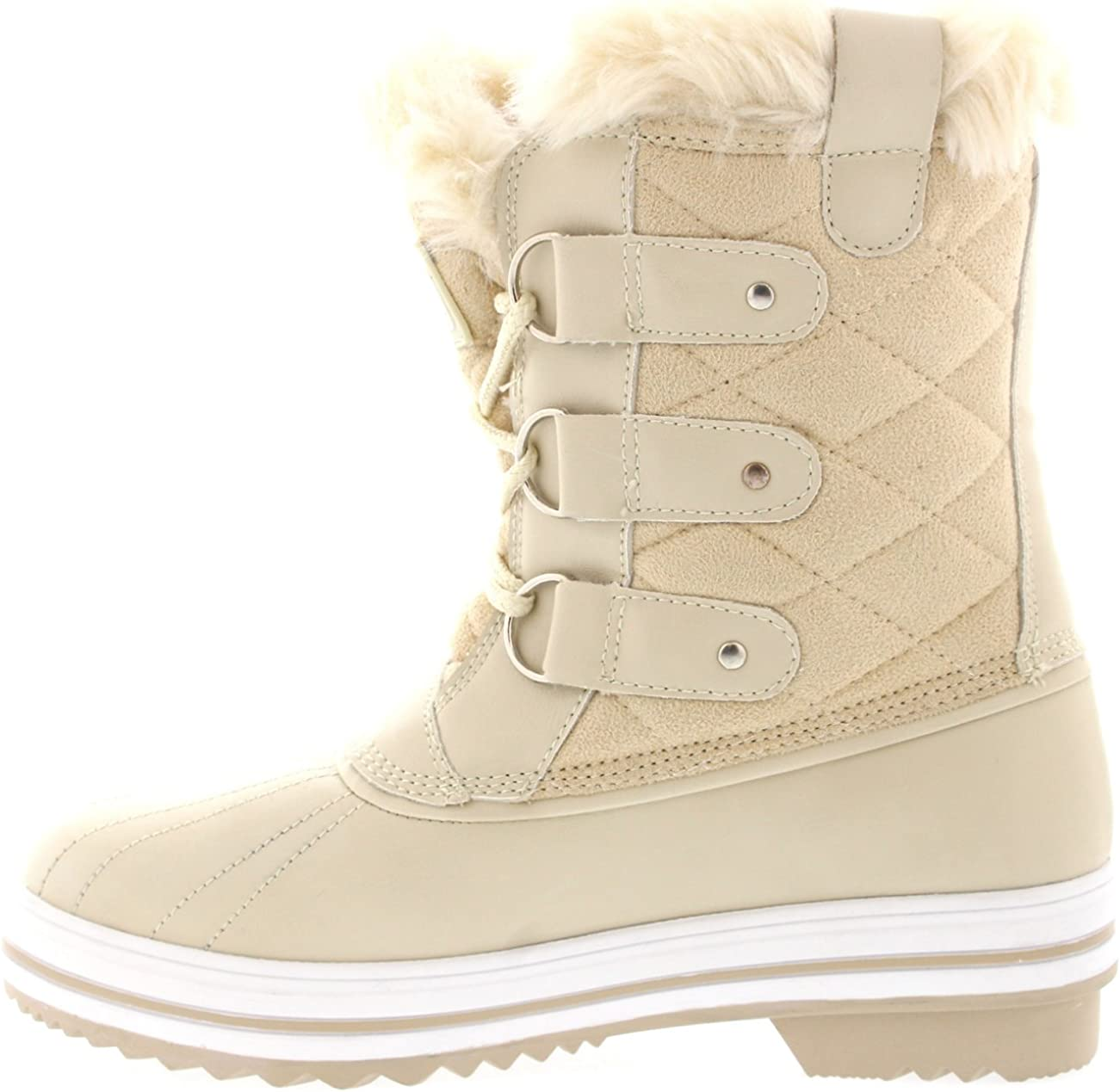 POLAR Womens Snow Boot Quilted Short Winter Snow Rain Warm Waterproof Boots