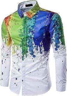 a8e1b2f5e863f Rera Homme Chemise T-Shirt Imprimé Peinture 3D Dessin Coloré Grand Taille  Occasionnel Manches Longues