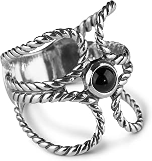 Sterling Silver and Gemstone Rope Ring