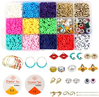 Polymer Clay Beads for Jewelry Making, 3000pcs Flat Spacer Beads for Bracelets Necklaces Earrings, 10 Assorted Colors Disc...