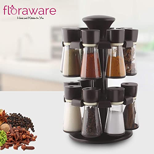 Floraware Plastic Revolving Spice Rack Set, 120ml Each (Set of 16)(Brown)