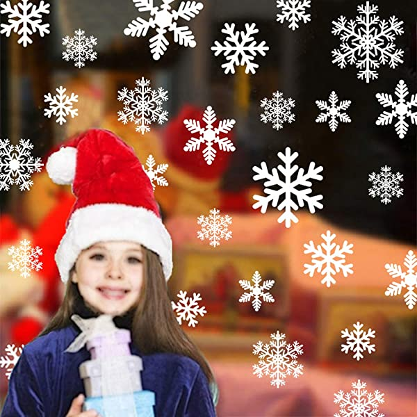 Snowflake Window Clings 116pcs Christmas Decoration Stickers For Windows Glasses Winter Wonderland Ornaments Party Supplies Glueless PVC Wall Stickers New Year
