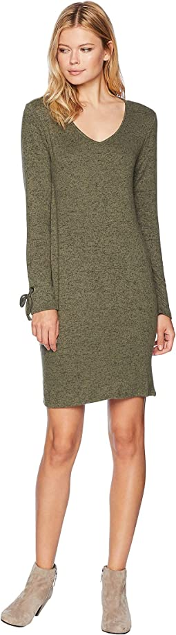 V-Neck Dress with Sleeve Tie