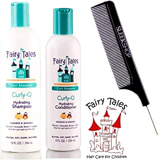 Fairy Tales CURLY Q Hydrating Shampoo & Conditioner DUO Set, CURL SHAPERS (with Sleek Steel Pin Tail Comb) (12 oz + 8 oz DUO Kit)