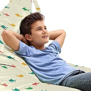 ABAKUHAUS Requin Jouet Sac de Rangement Chaise Lounge, Les Enfants de la Faune colorée, Stockage pour Animal en Peluche à ...