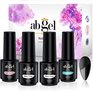 ab gel Set Matte Top Coat High Gloss Top Coat + Base Coat 2pcs, Soak Off UV LED Gel Nail Polish Quick Dry and Long Lasting (4Pcs 5ml)…