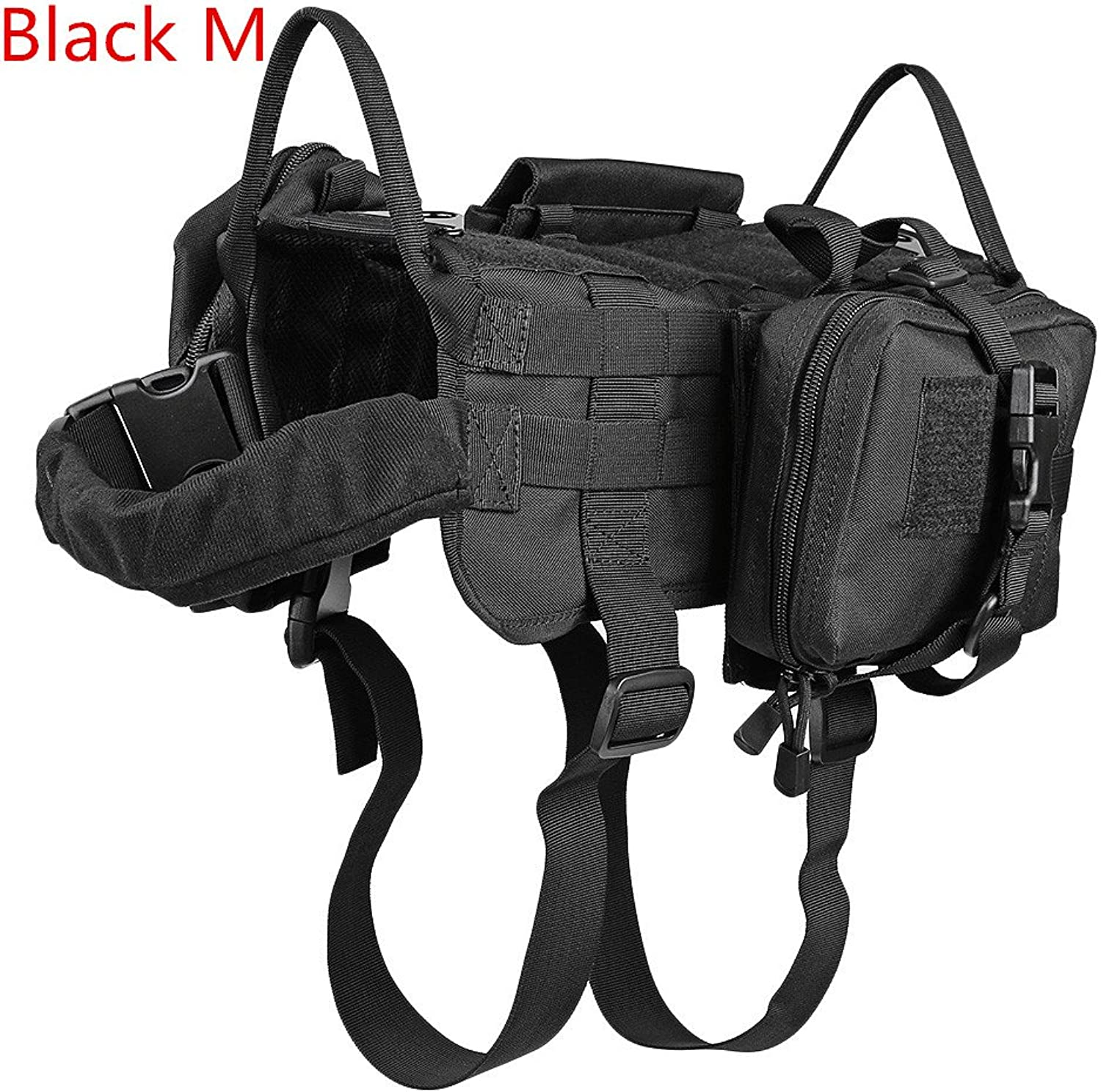 Tactical Dog Military Training Molle Vest Harness with 3 Detachable Pouches