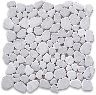 Carrara Mix Cinderalla Grey Marble River Rocks Pebble Stone Mosaic Tile Tumbled