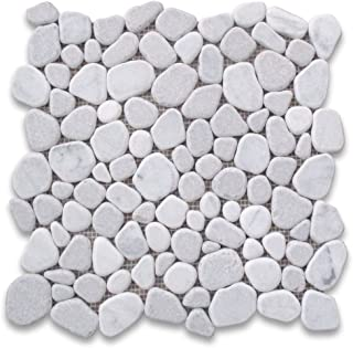 Carrara Mix Cinderalla Grey Marble River Rocks Pebble Stone Mosaic Tile Tumbled