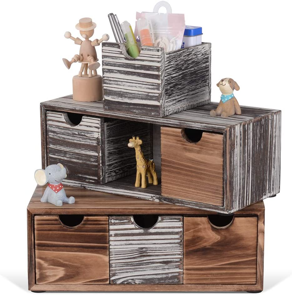 Rustic Desk Drawers Organizer It is very popular with Desktop 6 Genuine Free Shipping Craf Wooden