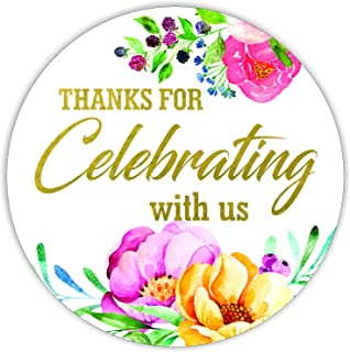 Thanks for Celebrating with us Stickers Seals Labels (Pack of 120) Stunning Gold Foil Stamping 2