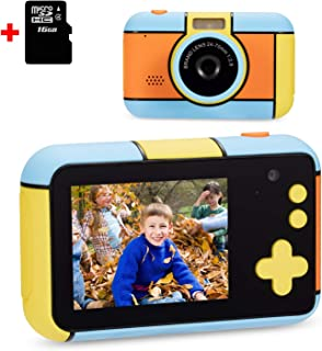 omzer Kids Camera for Boys Girls, Compact 1080p HD Kids Camcorder with 2.4 Inch Large Screen, Birthday Festival Gift Cameras for 3-9 Years Old Child, Best Toy with 16GB SD Card