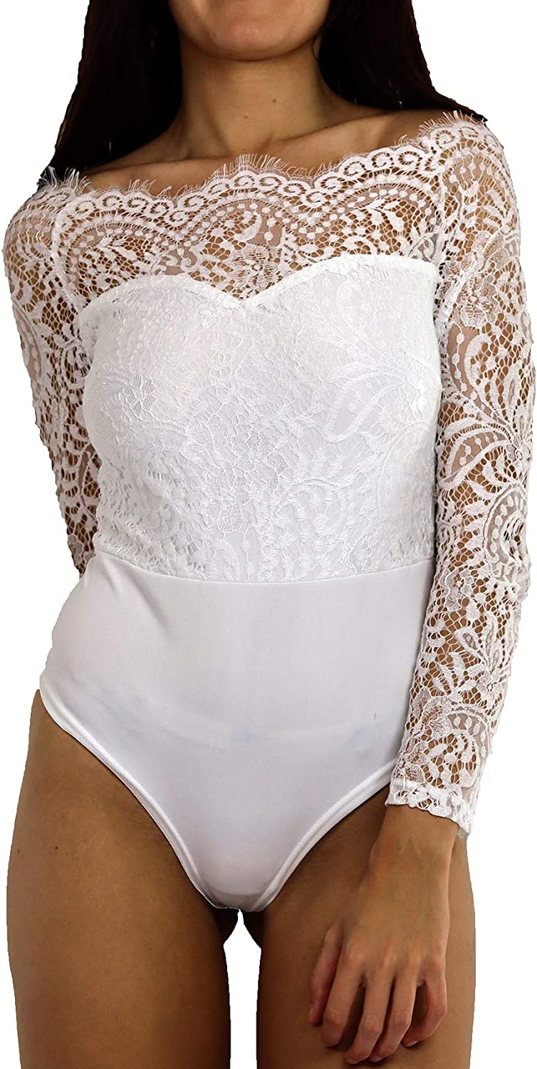 Off Shoulder Lace Bodysuit with Long Sleeves