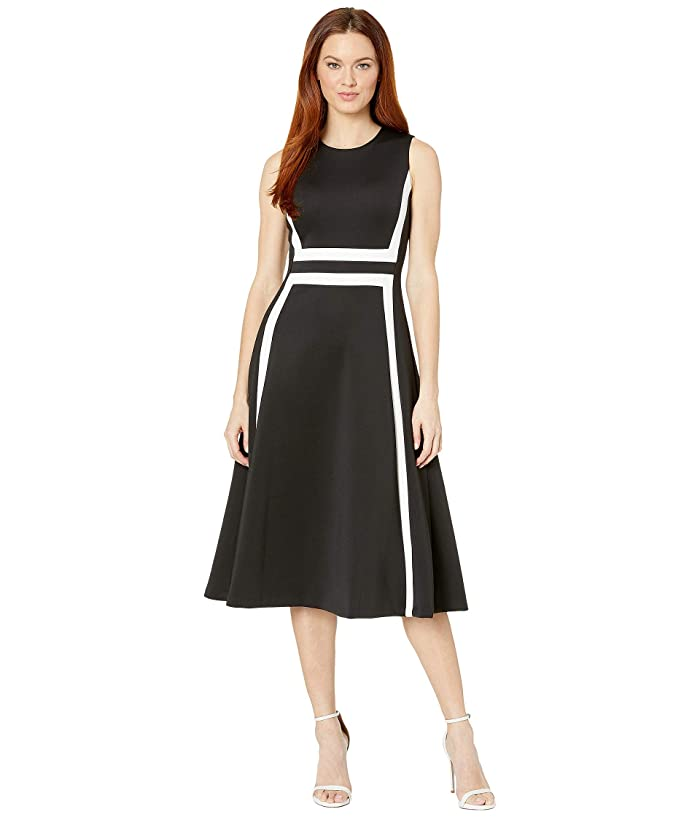 Line Color Block Dress (Black/Cream) Women's Dress