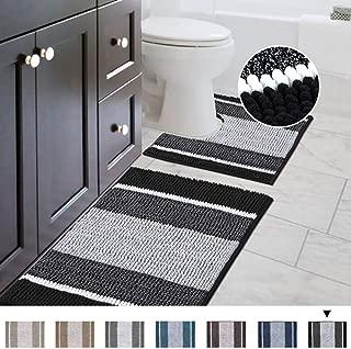 Bathroom Gradient Rugs Luxury Chenille Mat Set, Soft Plush Shower Rug + Toilet Mat, Microfiber Striped Shaggy Carpet, Machine Washable Bath Mats (Curved Set, 32