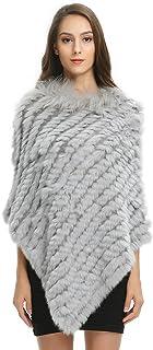 Ferand - Elegante Poncho - Capa caliente de piel de conejo auténtico punto con cuello de Raton Lavador para invierno - Mujer