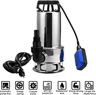 Homdox 1.5 HP Stainless Steel Sump Pump Submersible Pump Dirty Clean Water Pump Pool Pump w/ 15ft Cable and Float Switch