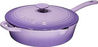 Enameled Cast Iron Skillet Deep Sauté Pan with Lid, 12 Inch, Superior Heat Retention - Purple
