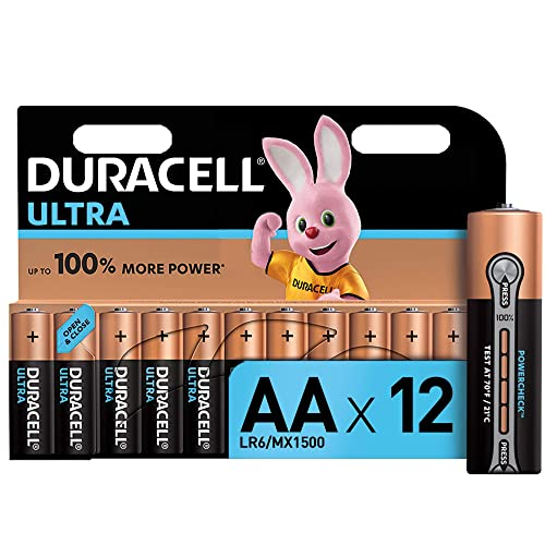Duracell Ultra AA Alkaline Batteries, 1.5 V LR06 MX1500, Pack of 12