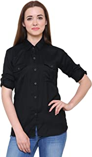 C.Cozami Women's Long Sleeves Casual Double Pocket Rayon Shirts