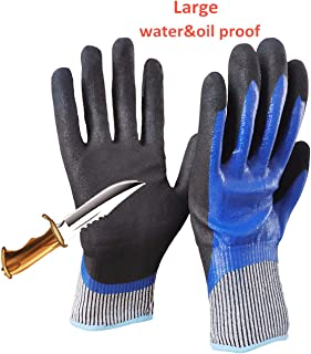 5 Level Cut-Resistant Waterproof Safety Protect Hand Gloves Nitrile and Latex Dual Palm Coated for Gargen work, Industrial production, Glasses handling, Indoor and Outdoor working (L-1pair)