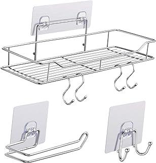 浴室ラック バス収納ラック お風呂ラック ステンレス強力粘着固定 水切り バス用品 フックとペーパータオルホルダー付き