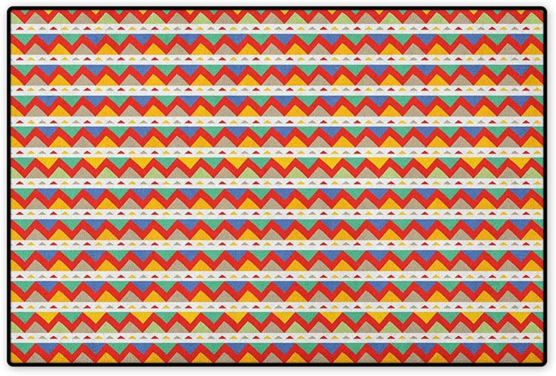 Tribal,Door Non Slip,Ethnic Chevron Zigzags Pattern with