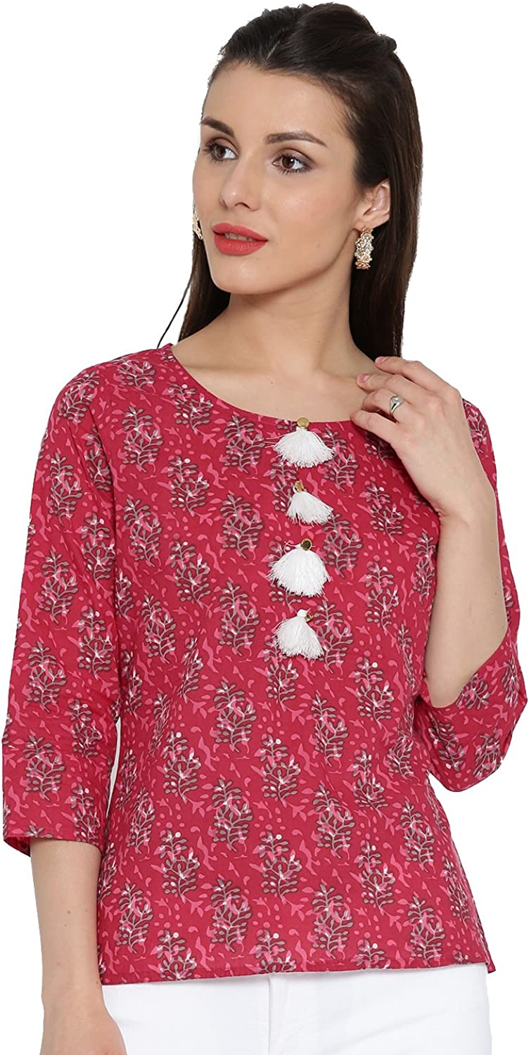 Desi Fusion Women Casual Short Tunic Straight Printed Top (Pink)