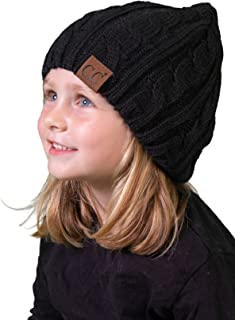 a56f0f4d378 Funky Junque Girls Cable Knit Beanie – Warm Unisex Hat – Kids Winter Cap