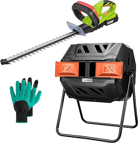 VIVOSUN Outdoor Tumbling Composter Dual Rotating Batch Compost Bin, 43 Gallon Orange Door and 20V Cordless Hedge Trimmer