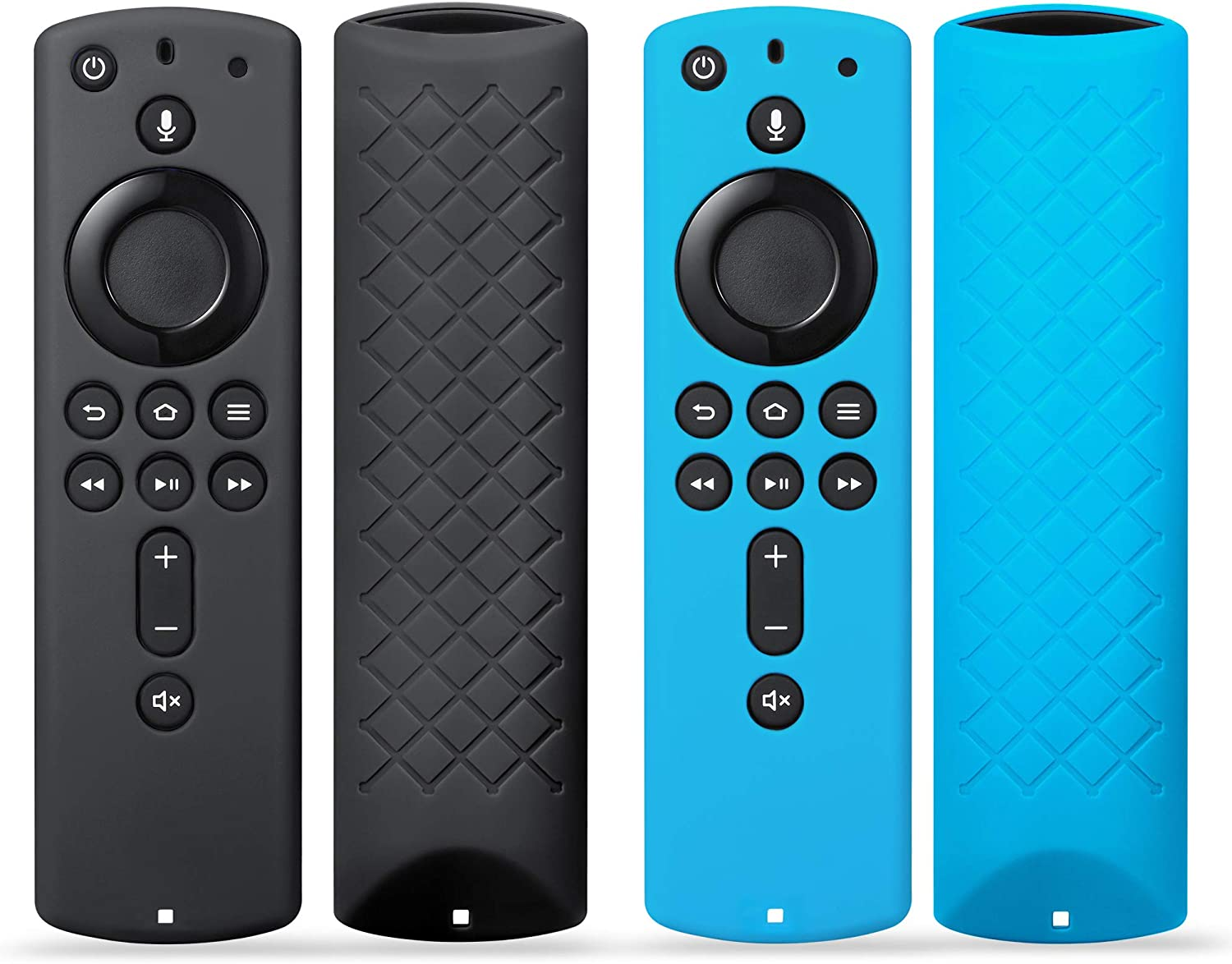 2Pack Remote Case Cover for Fir TV Stick 4K / Fir TV Cube/Fir TV (3rd Gen), SYMOTOP Anti Slip Silicone Remote Case Compatible with All-New 2nd Gen Alexa Voice Remote Control - Black Blue