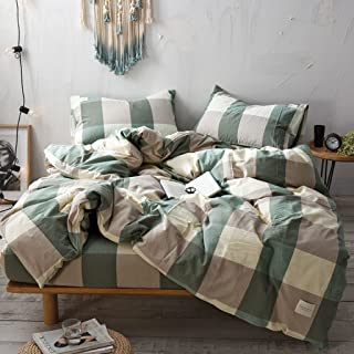 Haru Homie 3-Piece 100% Washed Cotton Duvet Cover Simple Style Bedding Set with Zipper Closure - Ultra Soft and Easy Care, (King, Green/Khaki Grid)