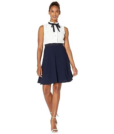 CeCe Sleeveless A-Line Dress with Pleated Trim (Soft Ecru) Women