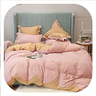 SHILINWEI Queen King Size Luxury Red Pink Egyptian Cotton Bedding Set Bedsheet Duvet Cover Fitted Sheet Bed Set Ropa De Cama Parure De Lit,Bedding Set 1,Queen Size 4Pcs,Fitted Sheet Style