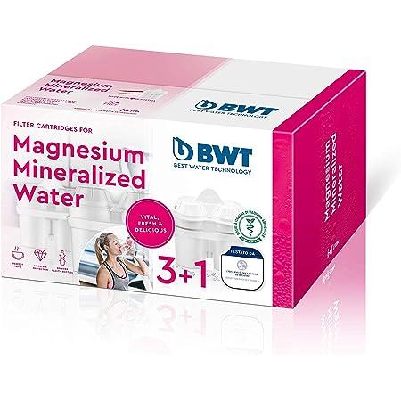 BWT - Filtres minéralisateurs de magnésium avec Technologie brevetée - Plastique - Blanc - 20,9x 12,3x 12,4cm - 3 filtres + 1