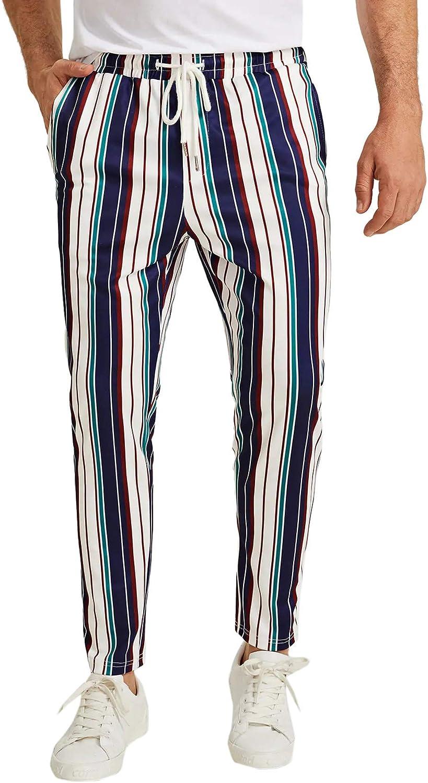 Romwe Men's Striped Elastic Waist Drawstring Slant Pocket Mid Waist Pants
