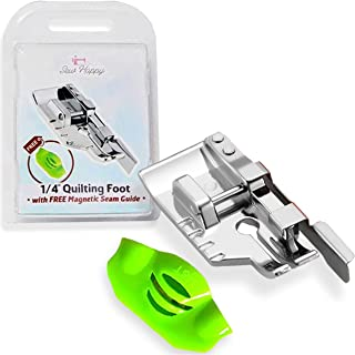 """Perfect 1/4"""" Seams - 1/4"""" Quilting Foot with Free Magnetic Seam Guide - Quarter Inch Foot Fits All Singer, Brother, Babylock, Janome, Kenmore Low Shank Sewing Machines (and More!)"""