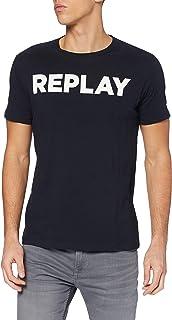 Replay Bold Logo Crew-Neck Men's T-Shirt, Navy