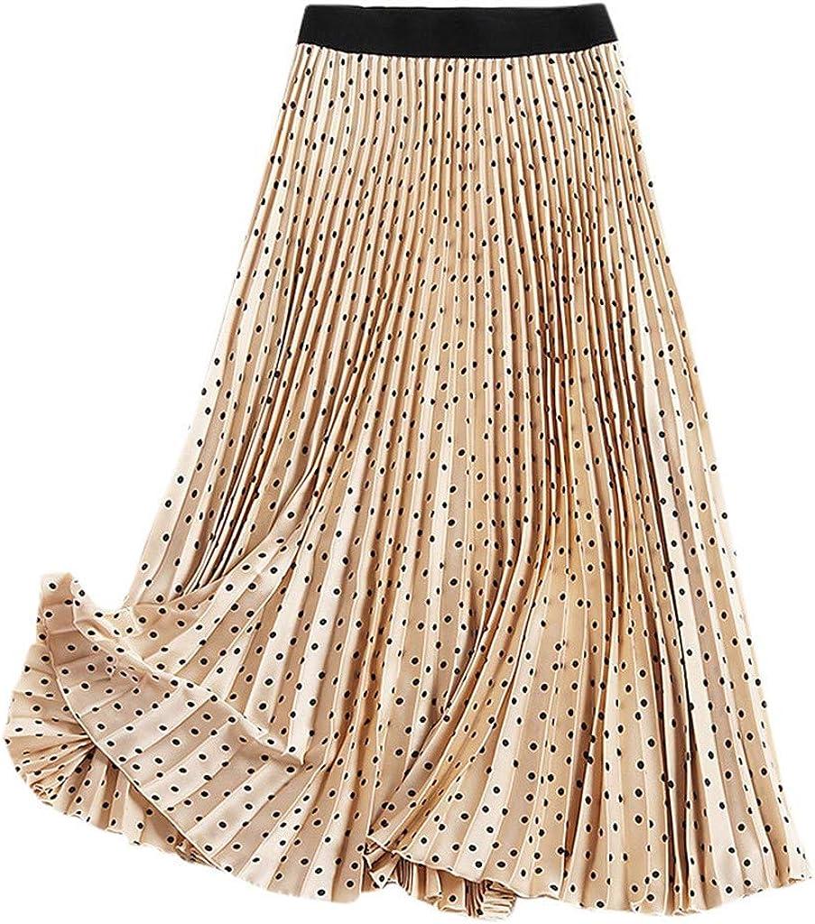 Forthery Womens Elegant Solid Bohemian Pleated Maxi Skirt High Elastic Waist Full/Ankle Length Elastic Waist Skirt