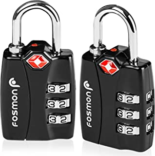 TSA Approved Luggage Locks, Fosmon (3 Pack) Open Alert Indicator 3 Digit Combination Padlock Codes Alloy Body for Travel B...