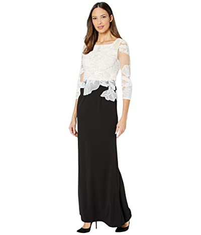 Adrianna Papell Embroidered Contrast Evening Gown (Black/Ivory) Women