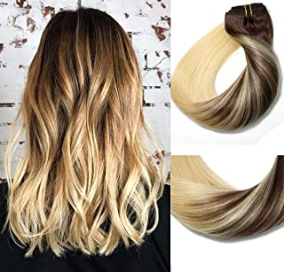 Clip In Human Hair Extensions Medium Brown to Bleach Blonde Extension Clip ins Thickened Double Weft 9A Brazilian Hair 120g 7pcs Full Head Silky Straight 100% Human Hair Clip In Extensions 18 Inch