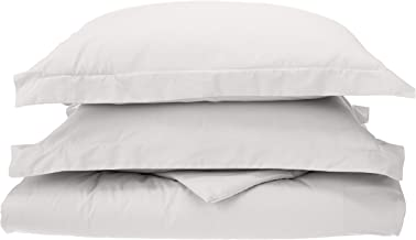 Percale 300 Thread Count 100% Cotton Twin/Twin XL Solid 2-Piece Duvet Cover Set, White
