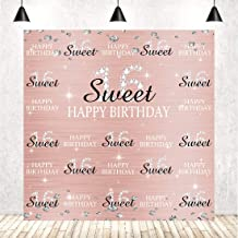 6x6ft Rose Gold Pink Sweet 16th Birthday Backdrop for Girls 16 Years Old Princess Girl Birthday Step and Repeat Diamonds Glitter Shiny Photography Backdrops Sixteen Birthday Party Background Vinyl